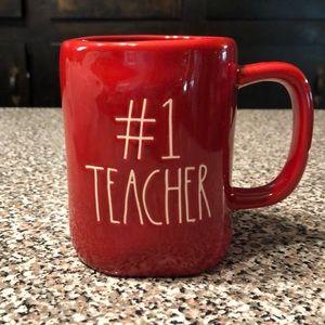 Rae Dunn #1 TEACHER red white letters mug NEW!